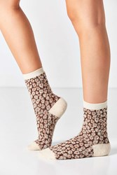 Out From Under Fuzzy Animal Printed Crew Sock Brown Multi