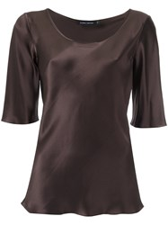 Gloria Coelho Silk Blouse Women Silk Pp Brown