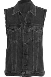 Alexander Wang Daze Distressed Denim Vest Gray