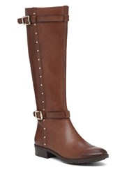 Vince Camuto Preslen Studded Leather Riding Boots Brown