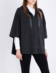 Brunello Cucinelli Embellished Cashmere Poncho Charcoal