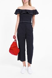 Alexander Wang T By Women S Raw Edge Pinstripe Trousers Boutique1 Navy