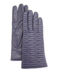 Portolano Leather Weave Quilted Gloves Purple