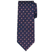 Daniel Hechter Shadow Flower Woven Silk Tie Navy Burgundy