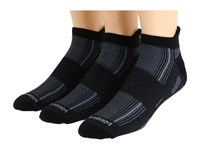 Wrightsock Stride Tab 3 Pair Pack Black Crew Cut Socks Shoes