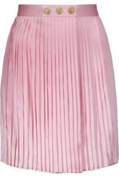 Balmain Pierre Wrap Effect Plisse Silk Satin Mini Skirt Pink