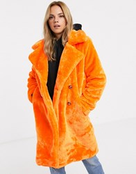 Qed London Faux Fur Midi Coat With Double Button Detail In Neon Orange