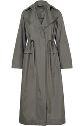 Akris Ediz Mulberry Silk Satin Coat Gray