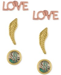 Rachel Roy 3 Pc. Set Love Feather And Abalone Look Stud Earrings Multi