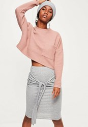 Missguided Grey Marl Tie Front Midi Skirt