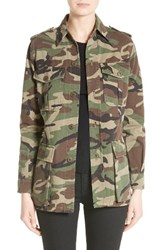Saint Laurent Women's Lauren Patch Camo Print Military Parka