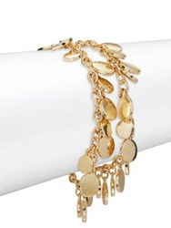 Design Lab Lord And Taylor Shaky Disc Two Row Bracelet Gold