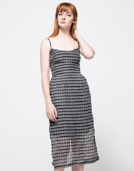 Objects Without Meaning Amber Dress In Plaid Black Wht
