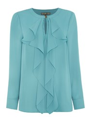 Biba Frill Front Button Detail Blouse Green