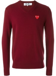 Comme Des Gara Ons Play 'Red Play' V Neck Sweater