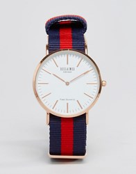 Reclaimed Vintage Canvas Stripe Watch In Navy Red Navy Blue