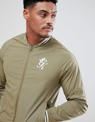 Gym King Muscle Track Jacket In Khaki Green