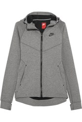 Nike Tech Fleece Stretch Cotton Blend Jersey Hooded Top Gray