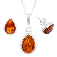 Be Jewelled Sterling Silver Tear Drop Amber Pendant Necklace And Earrings Gift Set Amber