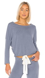 Eberjey Heather Slouchy Top In Blue. Oxford Blue