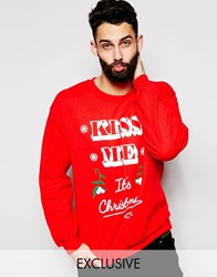 Reclaimed Vintage Christmas Sweatshirt With Kiss Me Print Red