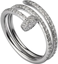 Cartier Juste Un Clou 18Ct White Gold And Diamond Double Ring