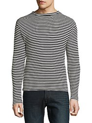 Sandro Striped Cotton Blend Tee White Black