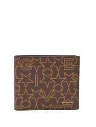 Givenchy Star Print Bi Fold Leather Wallet Brown Multi