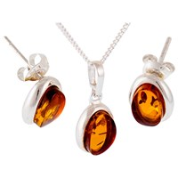 Be Jewelled Sterling Silver Amber Pendant And Stud Earrings Gift Set Amber