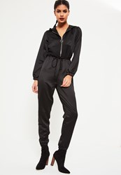 Missguided Black Heavy Satin Hooded Jumpsuit