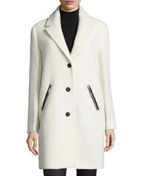Andrew Marc New York Zip Pocket Wool Alpaca Coat Women's Winter White
