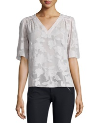 Rebecca Taylor Short Sleeve Magnolia Sheer V Neck Top Moonlight