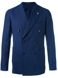 Tagliatore Woven Double Breasted Jacket Men Cotton Linen Flax Cupro 50 Blue