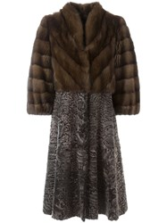 Liska Contrasting Panels Long Coat Brown