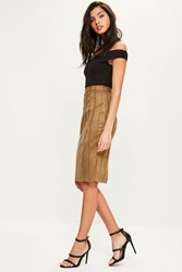 Missguided Tan Faux Suede Stitch Detail Midi Skirt