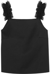 Mother Of Pearl Sabina Tulle Trimmed Sateen Top Black