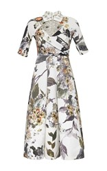 Antonio Marras Three Quarter Sleeve Floral Print Dress White Grey Yellow