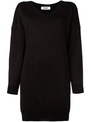 Marios Glittery Ribbed Details Dress Black