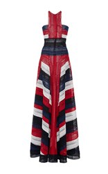 Naeem Khan Color Block Halter Neck Fit And Flare Gown Red White Blue