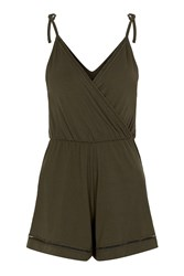Topshop Petite Ladder Wrap Playsuit Khaki