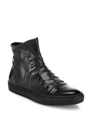 John Varvatos Reed Ghosted Leather High Top Sneakers Dark Charcoal