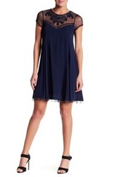 Trixxi Cap Sleeve Embroidered Front Swing Dress Blue
