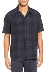 Vince Men's Short Sleeve Linen Plaid Camp Shirt