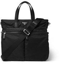 Prada Leather Trimmed Shell Tote Black