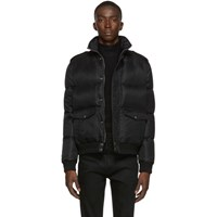 Saint Laurent Black Down Aviator Jacket