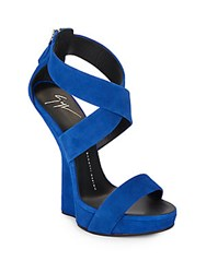 Giuseppe Zanotti Suede Open Toe Wedge Sandals Blue