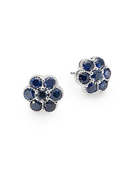 Saks Fifth Avenue Sapphire And 14K White Gold Flower Stud Earrings Blue