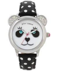 Betsey Johnson Women's Black And White Polka Dot Imitation Leather Strap Watch 38Mm Bj00628 01