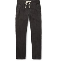 James Perse Drawstring Linen Trousers Black