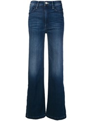 Mother Side Slit Flared Jeans Blue